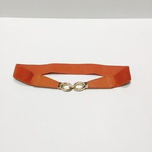 Orange Elastic Belt with Faux Leather Accent